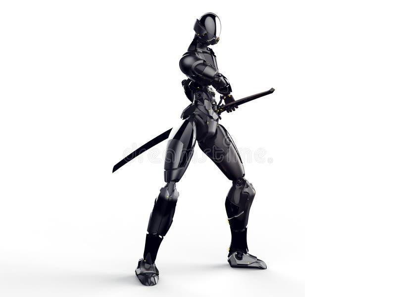 靠机械装置维持生命的人ninja/机器人战士把弄出去剑干净的背景 免版税图库摄影