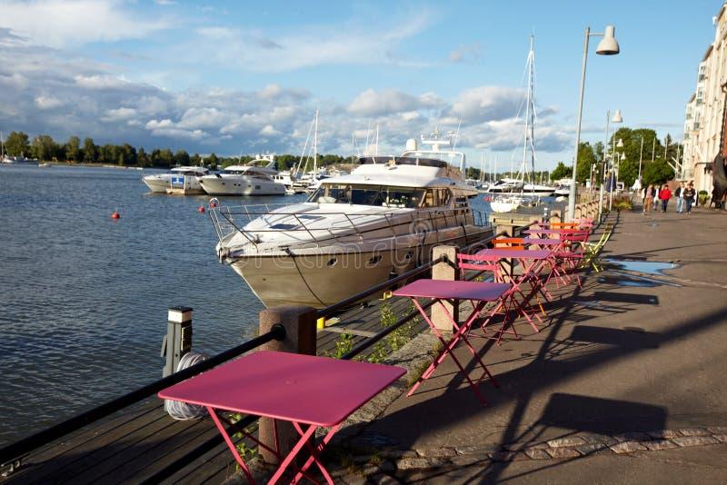 靠码头的游艇 库存照片