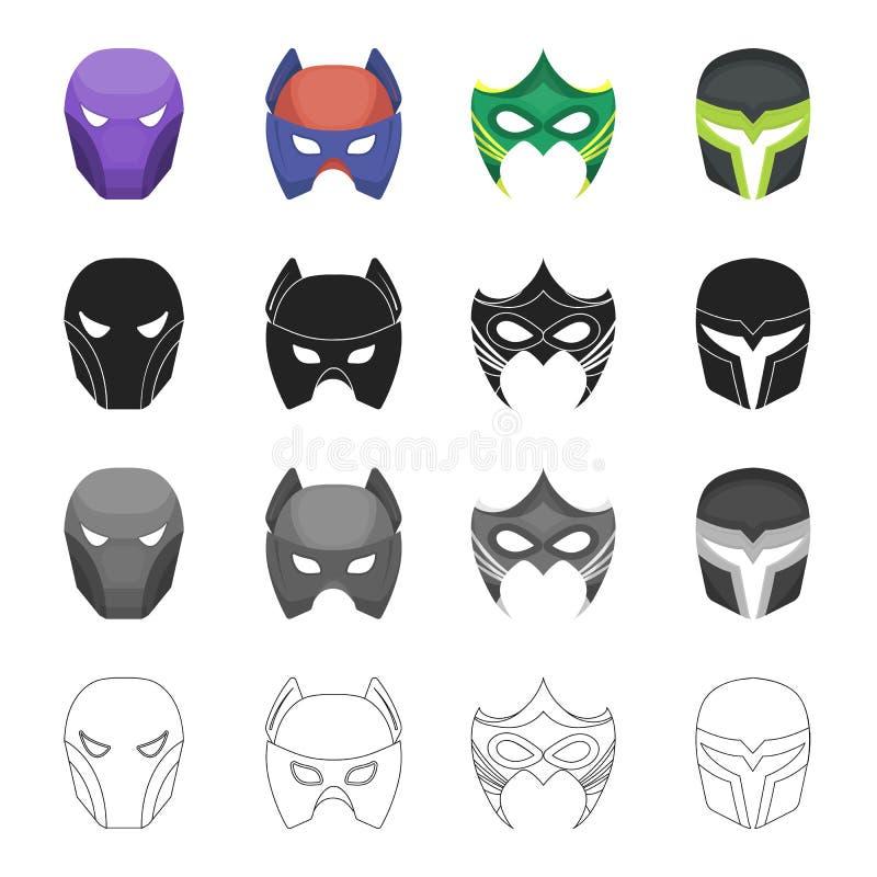 面具、摄影、动画片和其他网象在动画片样式 超人,主要,事,在集合汇集的象 库存例证