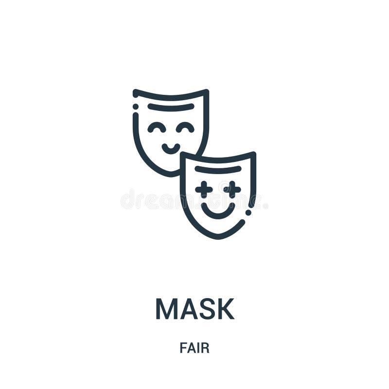 面具从公平的收藏的象传染媒介 稀薄的线面具概述象传染媒介例证 线性标志为在网和机动性的使用 向量例证