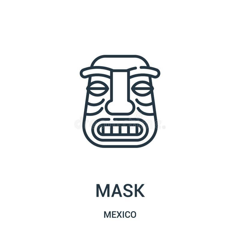 面具从墨西哥汇集的象传染媒介 稀薄的线面具概述象传染媒介例证 向量例证