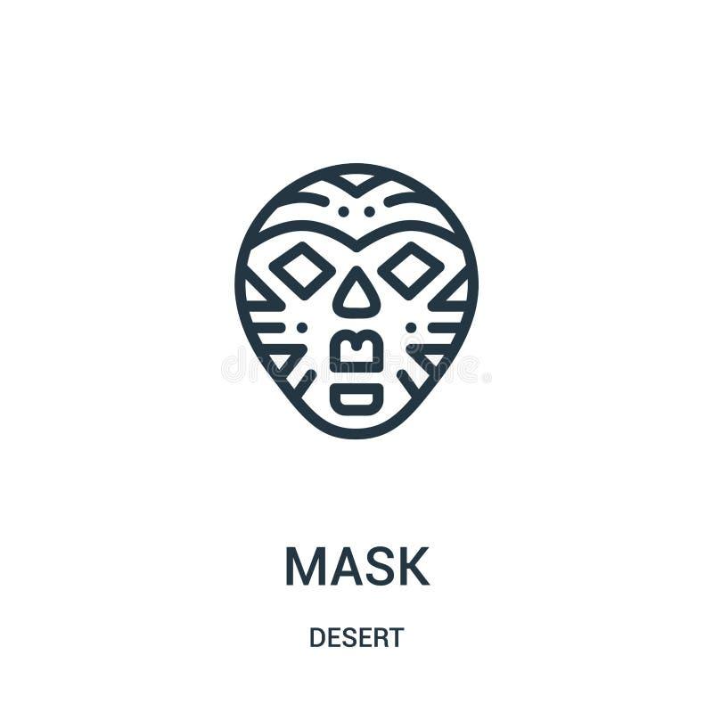 面具从沙漠汇集的象传染媒介 稀薄的线面具概述象传染媒介例证 线性标志为在网和机动性的使用 皇族释放例证