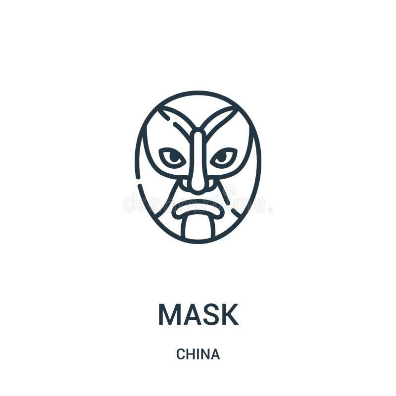 面具从瓷汇集的象传染媒介 稀薄的线面具概述象传染媒介例证 线性标志为在网和机动性的使用 库存例证