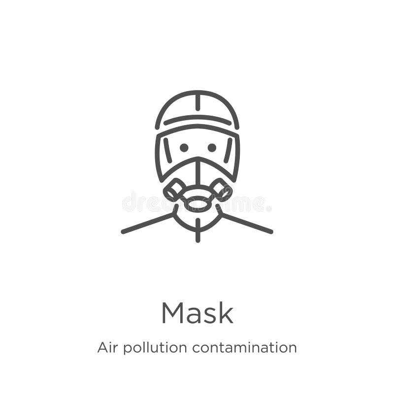面具从空气污染污秽汇集的象传染媒介 稀薄的线面具概述象传染媒介例证 概述,稀薄的线 库存例证