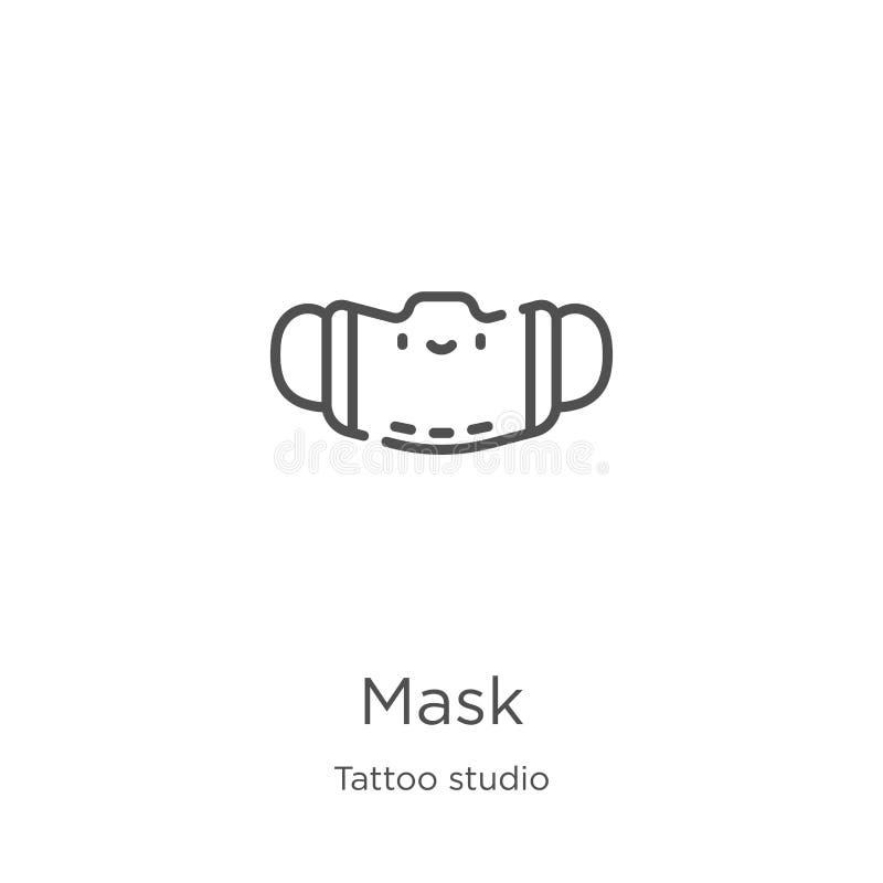 面具从纹身花刺演播室汇集的象传染媒介 稀薄的线面具概述象传染媒介例证 概述,稀薄的线面具象为 向量例证