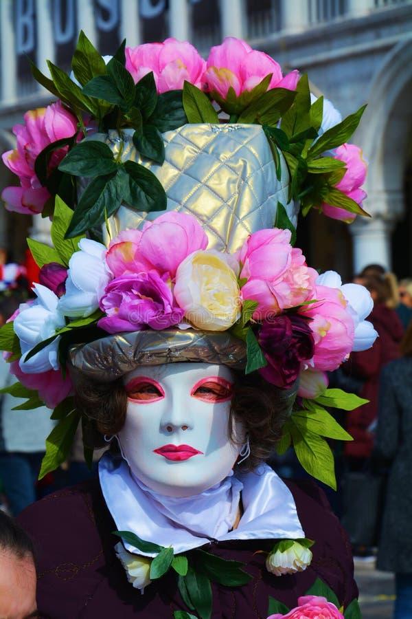面具和花,在威尼斯,意大利,欧洲 免版税库存图片