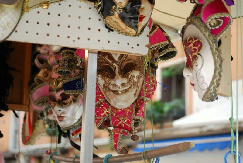 面具在挂掉电话的威尼斯 免版税库存图片