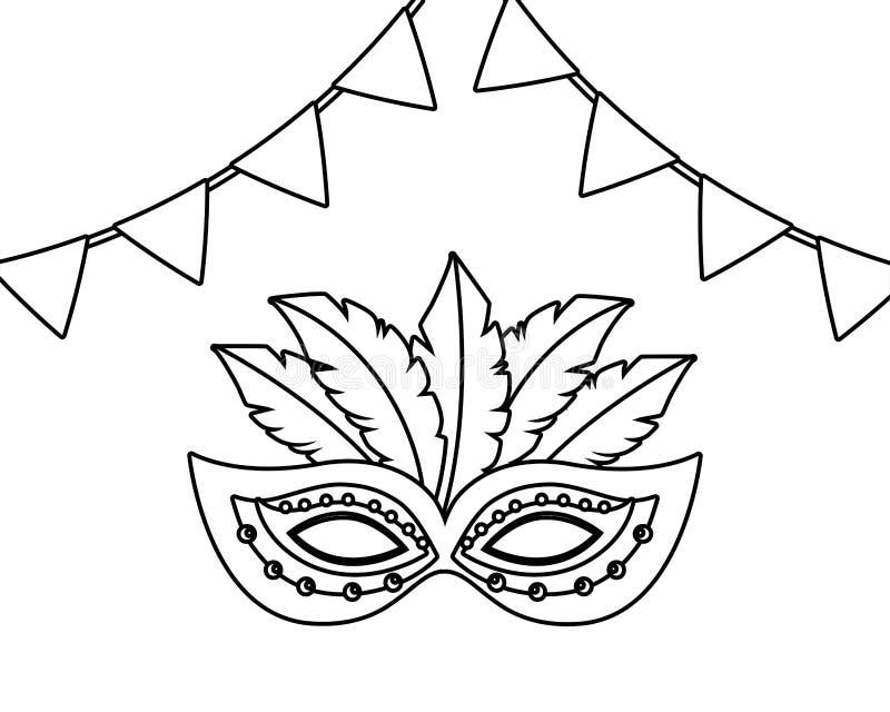 面具在黑白的巴西狂欢节 皇族释放例证