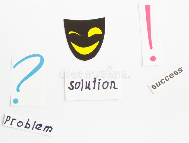 面具微笑、wordproblem、决议和成功 标记问题 免版税库存照片