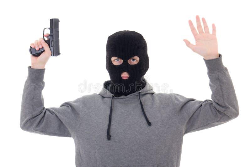 黑面具的人与握手的枪被隔绝在白色 免版税库存照片