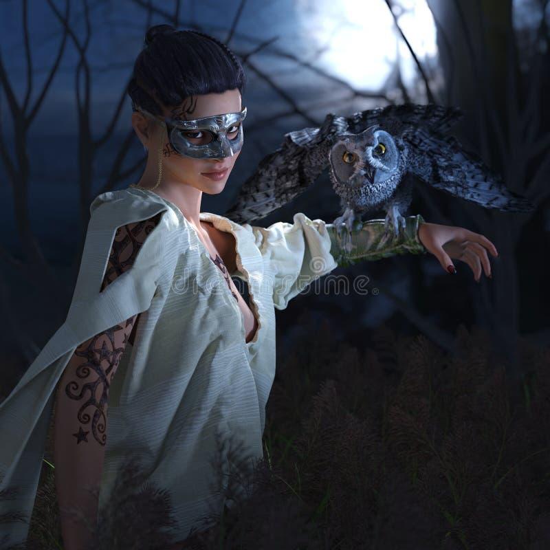 面具的美丽的性感的巫婆与猫头鹰 向量例证
