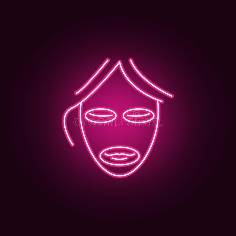 面具秀丽防皱象 反agies的元素在霓虹样式象的 网站的简单的象,网络设计,流动应用程序,信息 向量例证