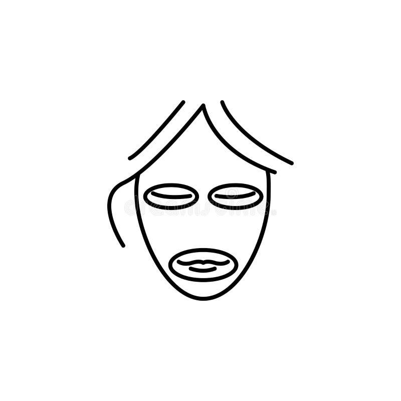 面具秀丽防皱象 秀丽和防皱象的元素流动概念和网apps的 稀薄的线防皱面具秀丽 库存例证
