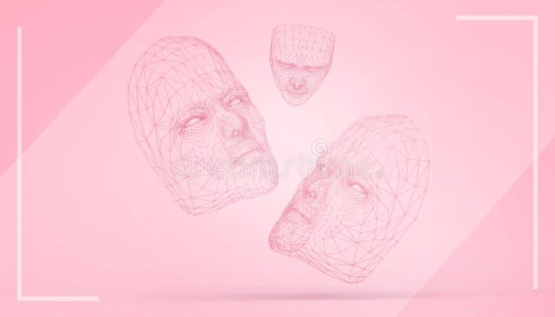 面具红色三倍-在粉红彩笔背景最小和隔绝的画的启发低多概念现代美术 皇族释放例证