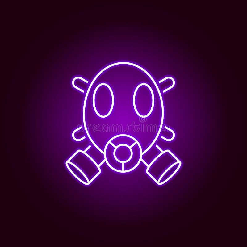 面具,防毒面具象 科学例证的元素在紫罗兰色霓虹样式象的 E 皇族释放例证