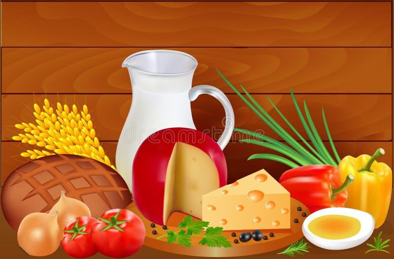 面包、牛奶乳酪、蕃茄、葱、甜椒和鸡蛋静物画  库存例证