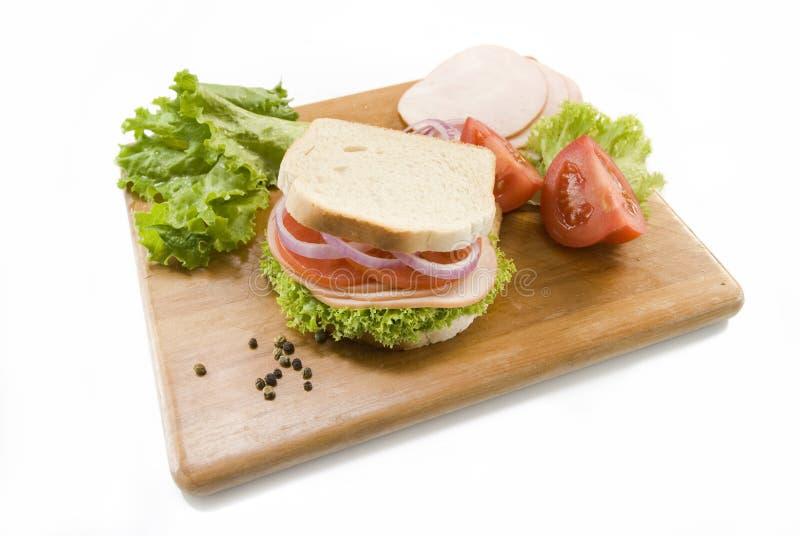 面包三明治白色 免版税库存图片