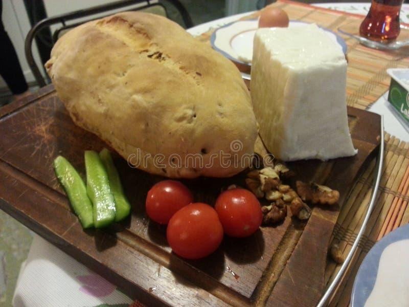 面包乳酪和蕃茄 免版税库存照片