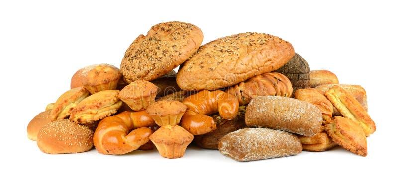 面包产品小圆面包,长方形宝石,谷物面包,杯子的汇集 免版税库存照片