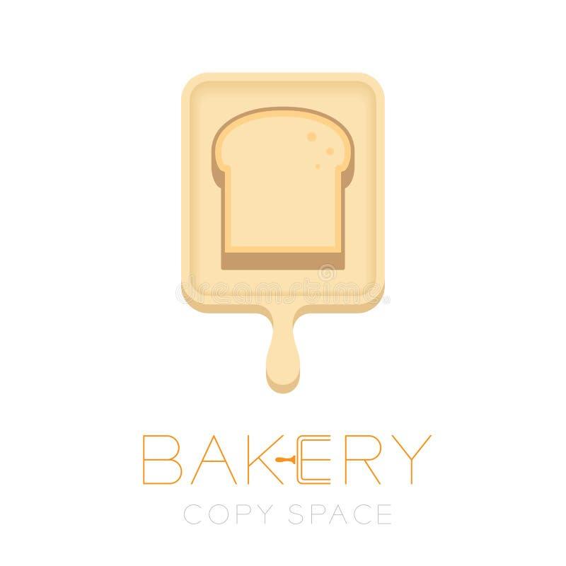 面包和木头盘子商标象设计例证 皇族释放例证