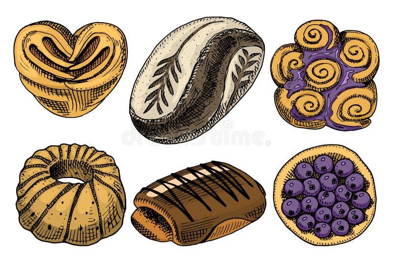 面包和酥皮点心多福饼、肉和果子饼 杯形蛋糕和甜小圆面包或者椒盐脆饼 刻记手拉在老剪影和 库存例证