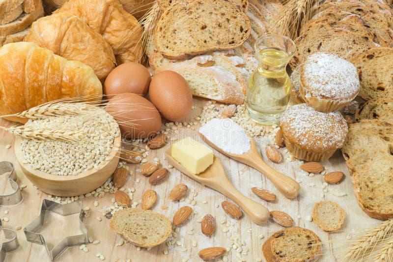面包和面包店产品 免版税库存图片