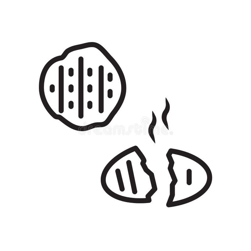 面包在白色背景、面包标志、线性标志和冲程设计元素隔绝的象传染媒介在概述样式 库存例证