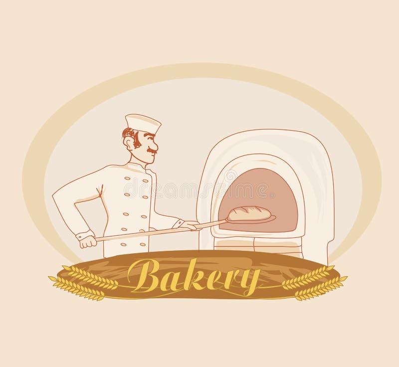 面包师的手拉的例证 库存例证