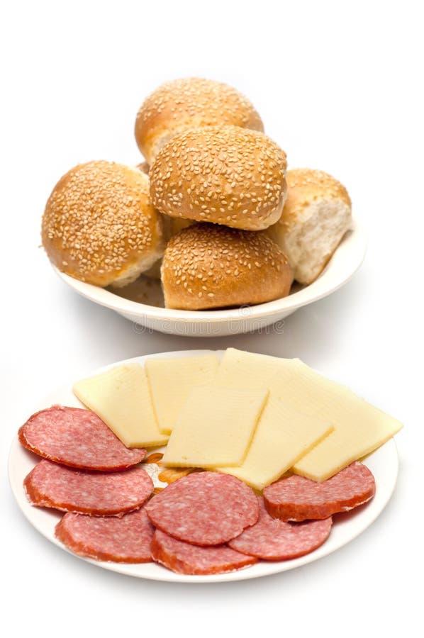 面包干酪滚香肠 图库摄影