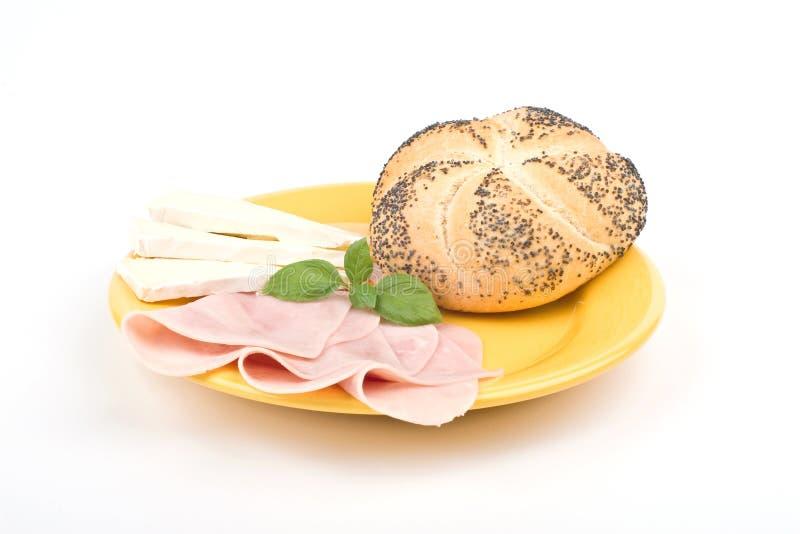面包干酪火腿牌照 库存照片