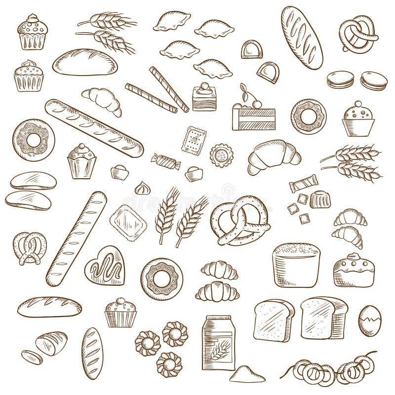 面包店、酥皮点心和糖果店剪影 皇族释放例证