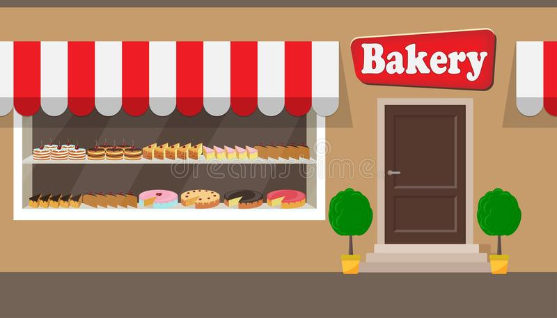 面包店与牌的工厂建筑物门面 不同的蛋糕和饼在架子在玻璃窗后 面包店门面illu 库存例证