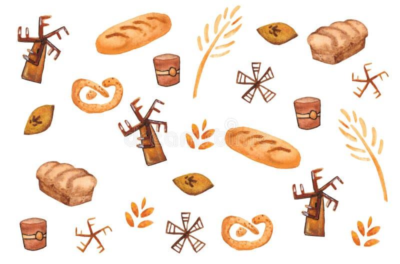 面包店产品,烘烤的印刷品 酥皮点心无缝的样式 逗人喜爱的厨房背景 库存例证