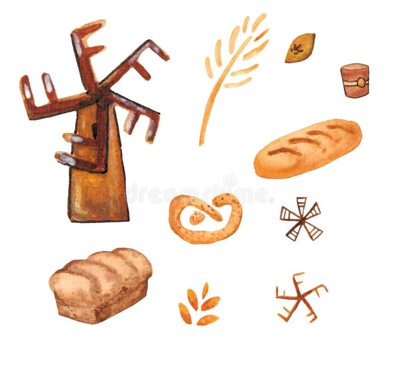 面包店产品,烘烤的印刷品 酥皮点心集合 逗人喜爱的厨房背景 向量例证
