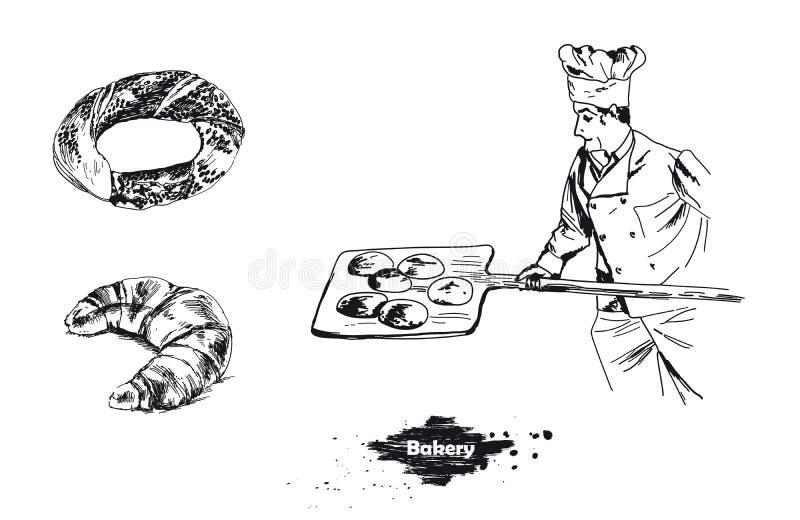面包店元素集 传染媒介速写手拉的例证 向量例证