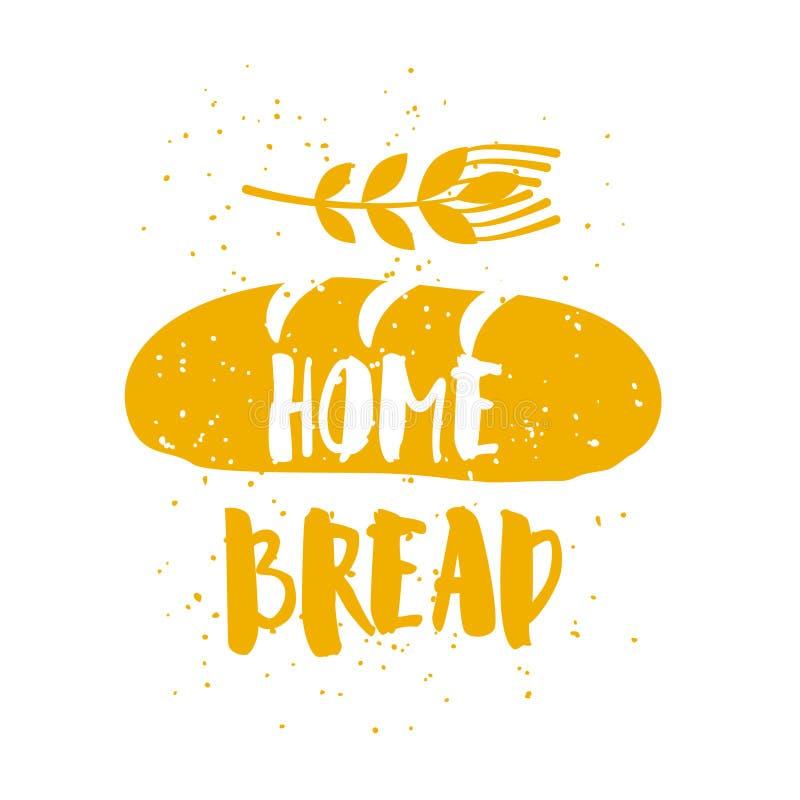 面包店卡片用大面包,麦子和字法在白色背景发短信 导航贺卡的例证,装饰,印刷品 皇族释放例证
