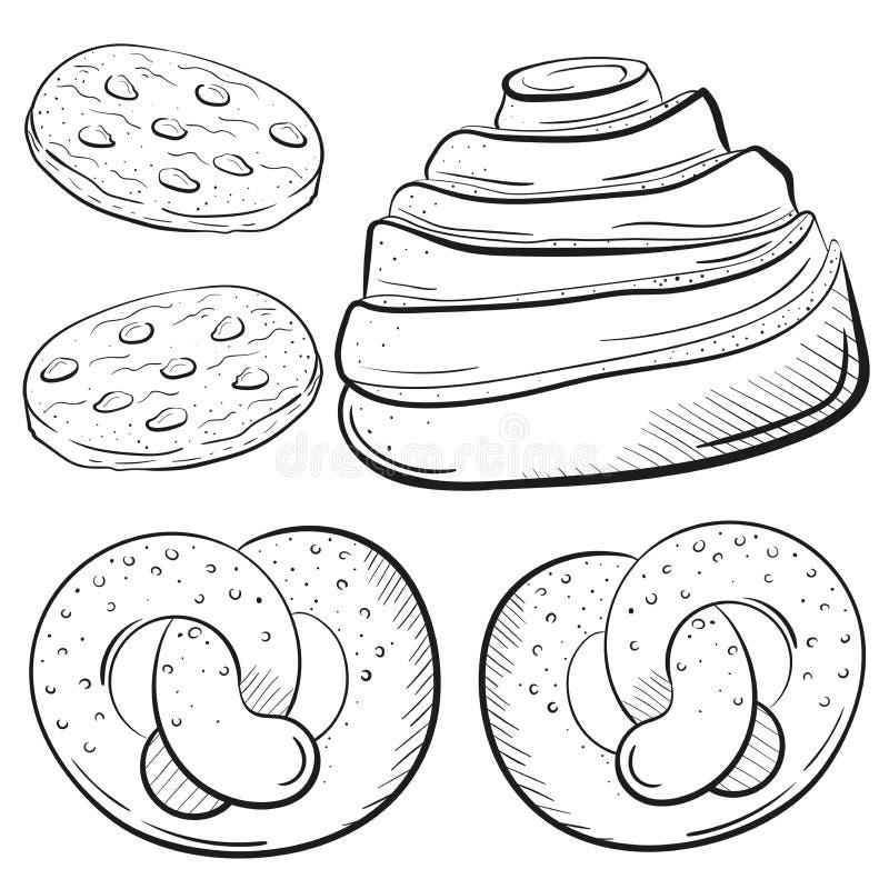 面包店卷, biscuiits用巧克力, brecel在白色背景剪影样式隔绝的传染媒介例证 甜 向量例证