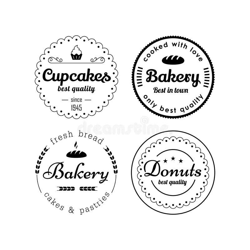 面包店和杯形蛋糕标签 皇族释放例证