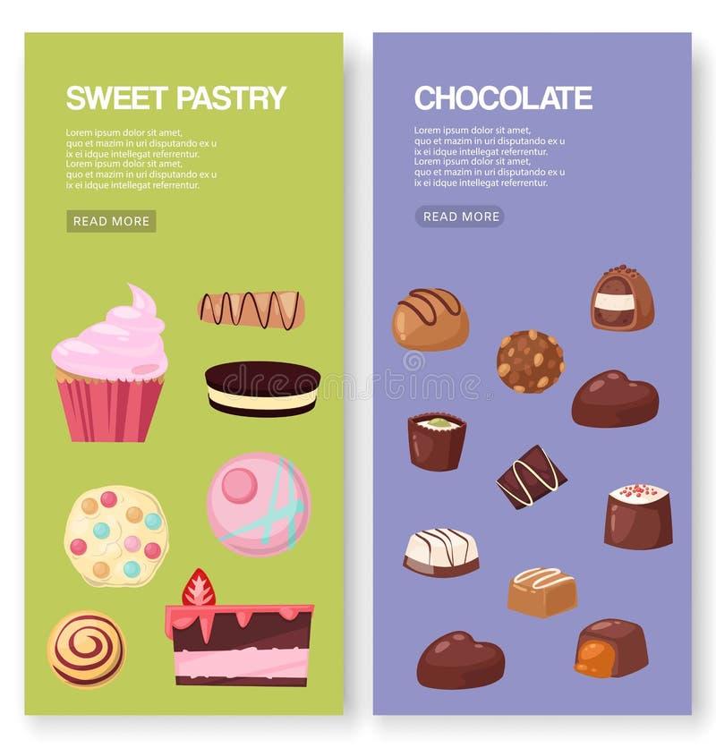 面包店和甜点套横幅传染媒介例证 有果子蛋糕片断的糖果商店与galaze和莓果,冰的 库存例证
