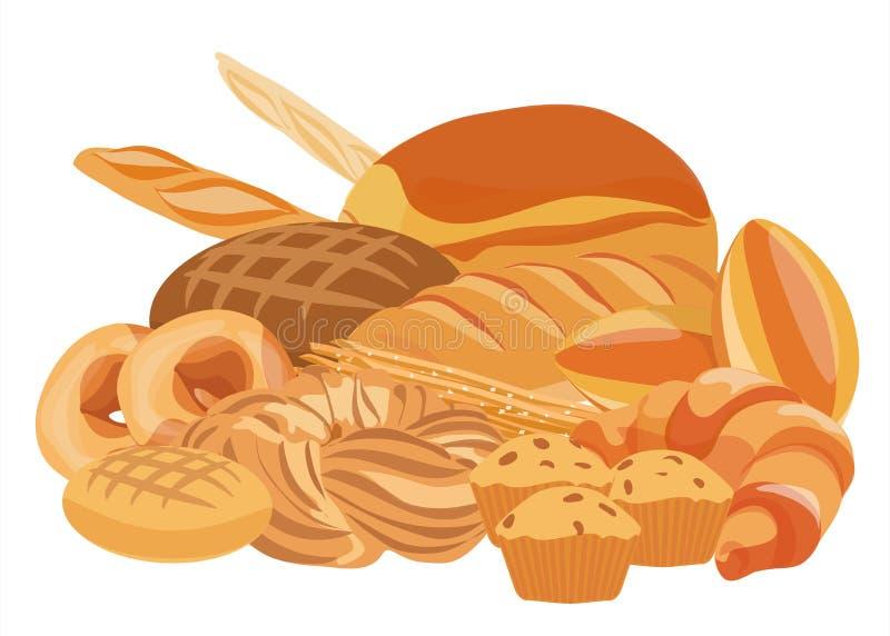 面包店和酥皮点心一起产品集 面包、杯形蛋糕、面团和蛋糕面包店的购物 面包店食物设计 向量例证