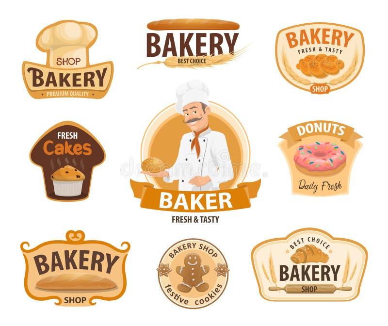面包店和酥皮点心或者法式蛋糕铺传染媒介象 向量例证