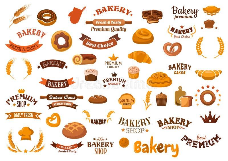 面包店和酥皮点心食物设计元素 库存例证
