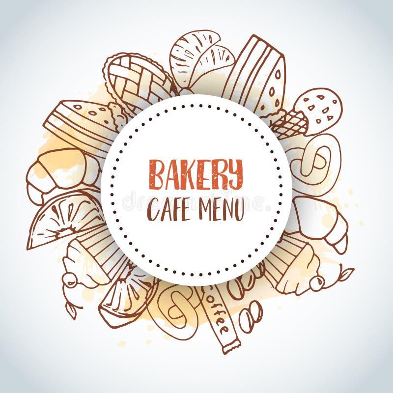 面包店咖啡馆菜单文本背景 甜酥皮点心,杯形蛋糕,与巧克力蛋糕,甜点的点心海报 冰淇凌手 皇族释放例证
