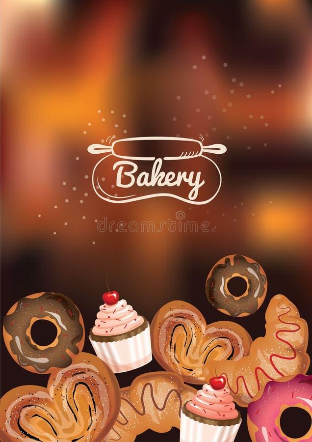 面包店咖啡馆菜单概念 向量例证