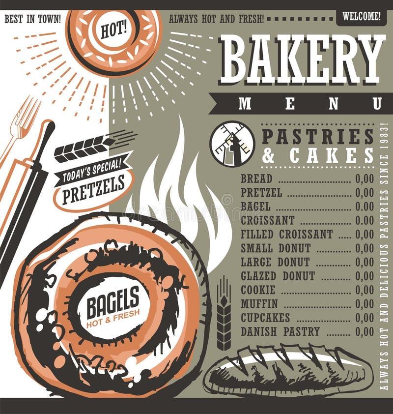 面包店商店减速火箭的价格表或菜单设计版面 向量例证