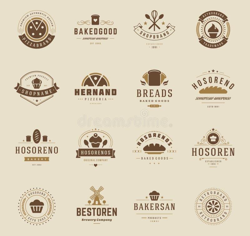 面包店商店商标、徽章和标签 库存例证