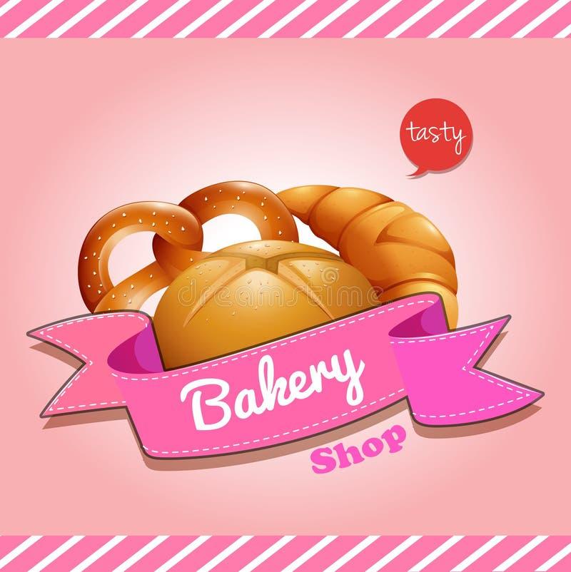 面包店商店商标设计用面包 库存例证