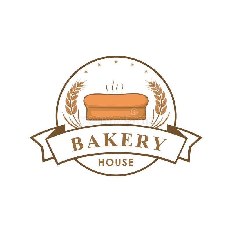 面包店商店商标,标志,模板,象征,传染媒介设计 库存例证