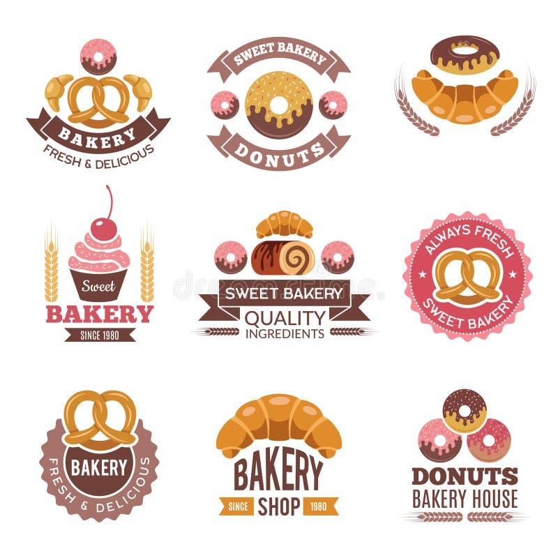 面包店商店商标 油炸圈饼曲奇饼新鲜食品杯形蛋糕和面包图片传染媒介面包店市场徽章设计的  皇族释放例证