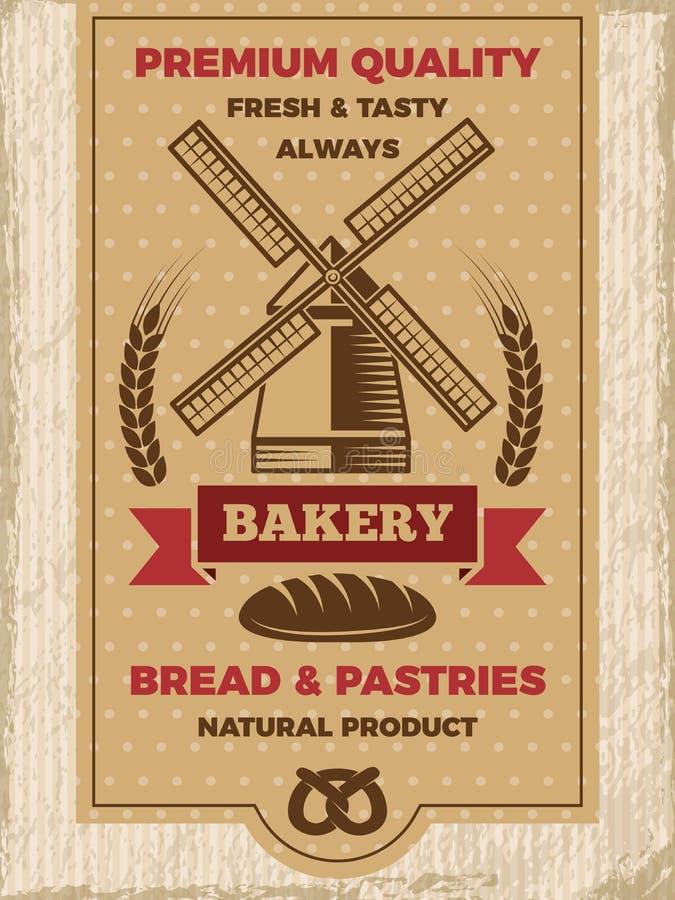 面包店商店的葡萄酒海报 与地方的模板您的文本的 皇族释放例证
